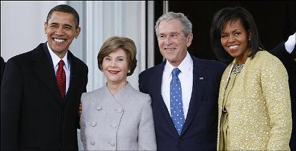 barack-obama-michelle-moglie-laura-george-w-bush-